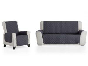 juego cubre sofá gris