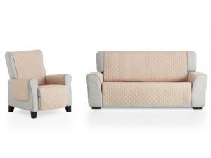 juego cubre sofá beig